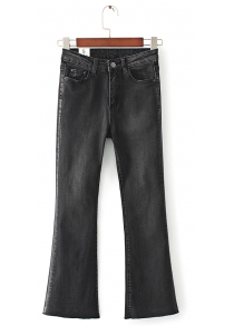 Female Cotton Ninth Pants Flare Jeans with Handy Pocket