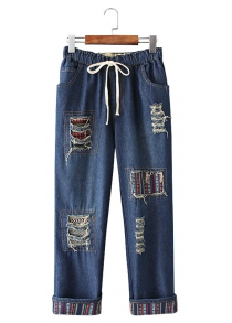 Female Cotton Long Destroyed Pants Drawcord Baggy Jeans