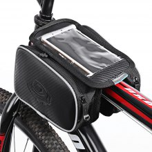 Roswheel 12813 1.8L Bicycle Front Top Tube Frame Bag 5.5 Inches Mobile Phone Pocket + Dual Pouches