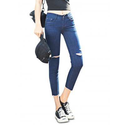 Deep blue Female Close-fitting Ninth Destroyed Pants Leisure Petite Jeans-26.05 Online Shopping| GearBest.com
