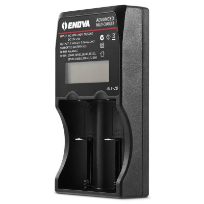 ENOVA  All - 20 LCD Battery ChargerChargers<br>ENOVA  All - 20 LCD Battery Charger<br><br>Brand: ENOVA<br>Charging Cell Qty: 2<br>Charging Cell Type: Ni-MH, Lithium Ion<br>Compatible: AAA, C, AA, 32650, 26650, 18650, 18500, 18350, 16340, 14500, 10440<br>Input Current: Max 0.3A (US charger), 1A (car charger)<br>Input Voltage: AC 100~240V 50/60HZ,DC 12 - 24V<br>LCD Screen: Yes<br>Model: All-20<br>Output Current: 0.5A, 1A<br>Output Voltage: 1.5V, 4.2V<br>Package Contents: 1 x ENOVA All-20 Battery Charger, 1 x US Charger, 1 x Car Charger<br>Package size (L x W x H): 19.00 x 19.00 x 4.50 cm / 7.48 x 7.48 x 1.77 inches<br>Package weight: 0.3820 kg<br>Plug: US adapter<br>Product size (L x W x H): 15.50 x 8.00 x 3.50 cm / 6.1 x 3.15 x 1.38 inches<br>Product weight: 0.1940 kg<br>Protected Circuit: Yes<br>Type: Charger
