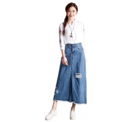 Female Slim Destroyed Long Dress Leisure A-shaped Jeans Skirt