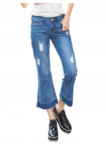 Female Ninth Bootcut Pants Baggy Jeans with Handy Pocket