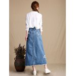 Female Slim Destroyed Long Dress Leisure A-shaped Jeans Skirt deal