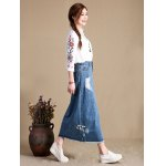 cheap Female Slim Destroyed Long Dress Leisure A-shaped Jeans Skirt