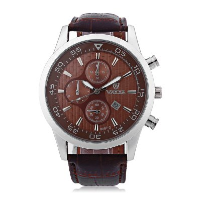 Valia 8257 - 2 Analog Quartz Watch Date Leather Band Round Dial for MenMens Watches<br>Valia 8257 - 2 Analog Quartz Watch Date Leather Band Round Dial for Men<br><br>Brand: Valia<br>Watches categories: Male table<br>Watch style: Business<br>Available Color: Black,Brown,White<br>Movement type: Quartz watch<br>Shape of the dial: Round<br>Display type: Analog<br>Case material: Stainless Steel<br>Band material: Leather<br>Clasp type: Pin buckle<br>Special features: Date,Decorating small sub-dials<br>The dial thickness: 1.4 cm / 0.55 inches<br>The dial diameter: 4.6 cm / 1.81 inches<br>The band width: 2.2 cm / 0.87 inches<br>Product weight: 0.0590 kg<br>Package weight: 0.1090 kg<br>Product size (L x W x H): 26.00 x 4.60 x 1.40 cm / 10.24 x 1.81 x 0.55 inches<br>Package size (L x W x H): 27.00 x 5.60 x 2.40 cm / 10.63 x 2.2 x 0.94 inches<br>Package Contents: 1 x Watch