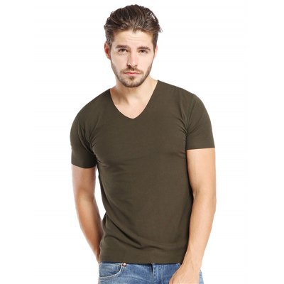 Army green Modal Slim Fit T Shirts-13.67 Online Shopping| GearBest.com