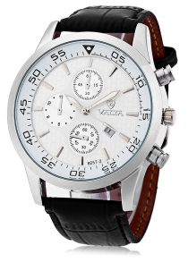 Valia 8257 - 2 Analog Quartz Watch Date Leather Band Round Dial for Men