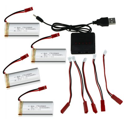 5Pcs 3.7V 800mAh LiPo Battery + Charger + Charging Cable Set