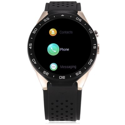 KingWear KW88 3G Smartwatch PhoneSmart Watch Phone<br>KingWear KW88 3G Smartwatch Phone<br><br>Additional Features: Notification, GPS, 2G, Bluetooth, Alarm, 3G, Wi-Fi<br>Battery: 400mAh Built-in<br>Bluetooth: Yes<br>Bluetooth Version: V4.0<br>Brand: KingWear<br>Camera type: Single camera<br>Cell Phone: 1<br>Compatible OS: Android<br>Cores: Quad Core<br>CPU: MTK6580<br>English Manual : 1<br>External Memory: Not Supported<br>Frequency: GSM 850/900/1800/1900MHz WCDMA 850/2100MHz<br>Front camera: 2.0MP (SW 5.0MP)<br>Functions: Pedometer<br>GPS: Yes<br>Languages: Indonesian, German, English, Spanish, French, Italian, Polish, Portuguese, Vietnamese, Turkish, Arabic, Persian, Hebrew,Russian, Hindi, Bengali, Thai, Burmese, Korean, Japanese<br>Music format: MP3<br>Network type: GSM+WCDMA<br>OS: Android 5.1<br>Package size: 11.50 x 11.50 x 9.00 cm / 4.53 x 4.53 x 3.54 inches<br>Package weight: 0.2750 kg<br>Picture format: PNG, JPEG, GIF<br>Product size: 5.50 x 4.70 x 1.40 cm / 2.17 x 1.85 x 0.55 inches<br>Product weight: 0.0650 kg<br>RAM: 512MB<br>ROM: 4GB<br>Screen Protector: 1<br>Screen type: Capacitive<br>Screwdriver: 1<br>SIM Card Slot: Single SIM<br>Speaker: Supported<br>Support 3G : Yes<br>Type: Watch Phone<br>USB Cable: 1<br>Video format: MP4<br>WIFI: 802.11b/g/n wireless internet