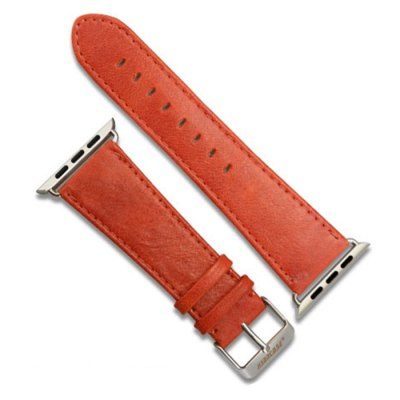 Jisoncase Oil Wax Genuine Leather Band Watch Strap for Apple Watch iWatch 38mm