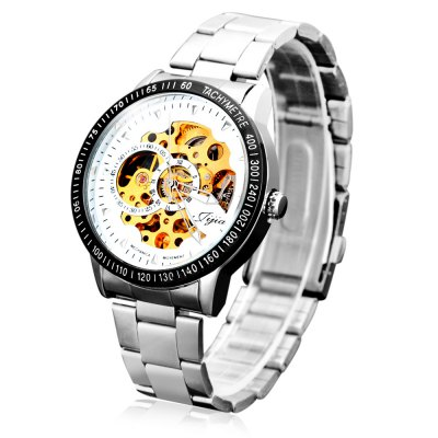 Jijia 8010 Men Mechanical Watch Self - winding Hollow - out Round Dial Stainless Steel Wristband