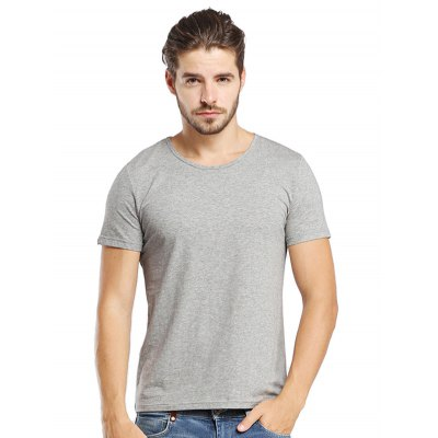 Gray Round Neck Slim Fit T Shirts-11.95 Online Shopping| GearBest.com