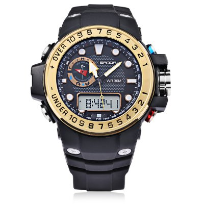 Sanda 399 Men Sport Digital Quartz WatchLED Watches<br>Sanda 399 Men Sport Digital Quartz Watch<br><br>Band material: Rubber<br>Band size: 25.50 x 2.20 cm / 10.04 x 0.87 inches<br>Brand: Sanda<br>Case material: Plastic<br>Clasp type: Pin buckle<br>Dial size: 5.50 x 5.50 x 1.50 cm / 2.17 x 2.17 x 0.59 inches<br>Display type: Analog-Digital<br>Hour formats: 12/24 Hour<br>Movement type: Quartz + digital watch<br>Package Contents: 1 x Sanda 399 Digital Quartz Watch, 1 x English Manual<br>Package size (L x W x H): 26.50 x 6.50 x 2.50 cm / 10.43 x 2.56 x 0.98 inches<br>Package weight: 0.1000 kg<br>People: Male table<br>Product size (L x W x H): 25.50 x 5.50 x 1.50 cm / 10.04 x 2.17 x 0.59 inches<br>Product weight: 0.0670 kg<br>Shape of the dial: Round<br>Special features: Stopwatch, Month, GMT, EL Back-light, Decorative sub-dial, Alarm Clock, Day<br>Watch color: Black, black and gold, black and blue, black and red, black and white<br>Watch style: Casual, Outdoor Sports<br>Water resistance : 30 meters