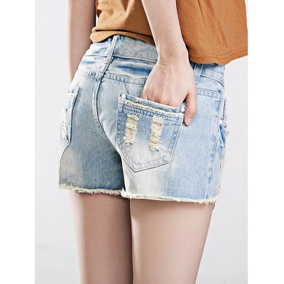 Female light loose destroyed pants leisure short baggy jeans...