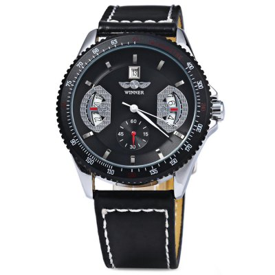 Mechanical Luxury Watch with Calendar Round Dial and Leather Watchband for MenMechanical Watches<br>Mechanical Luxury Watch with Calendar Round Dial and Leather Watchband for Men<br><br>Brand: Winner<br>Watches categories: Male table<br>Watch style: Casual<br>Available Color: Black<br>Movement type: Mechanical watch<br>Shape of the dial: Round<br>Display type: Analog<br>Case material: Metal<br>Case color: Black<br>Band material: Leather<br>Clasp type: Pin buckle<br>Band color: Black<br>Special features: Calendar<br>The dial thickness: 1.0 cm<br>The dial diameter: 4.2 cm<br>Product weight: 0.0500 kg<br>Package weight: 0.1000 kg<br>Product size (L x W x H): 24.00 x 4.20 x 1.00 cm / 9.45 x 1.65 x 0.39 inches<br>Package size (L x W x H): 25.90 x 4.20 x 0.90 cm / 10.2 x 1.65 x 0.35 inches<br>Package Contents: 1 x Watch