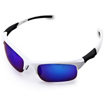 UVA / UVB Protection Goggle Motorcross Goggle Sunglasses White Frame Square Blue Reflex Lens Style