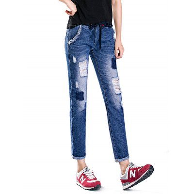 Female Destroyed Ninth Pants Leisure Boyfriend Jeans