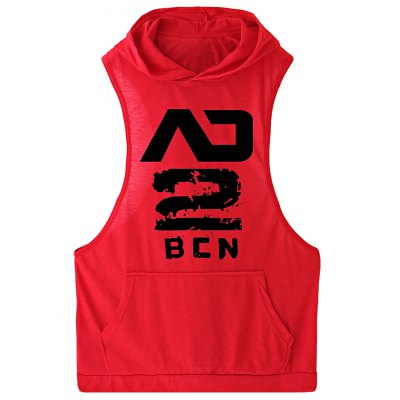 Male Letter Print Cotton Sleeveless T-shirt Vest with Hat