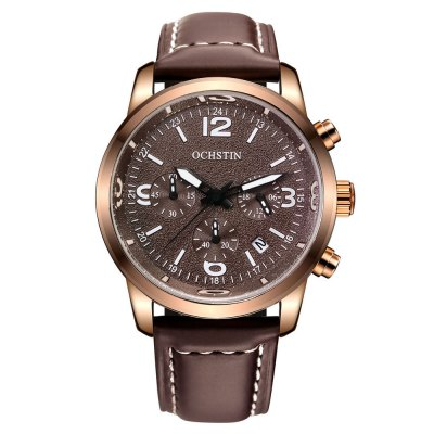 OCHSTIN 6047G Men Quartz Watch with Luminous PointersMens Watches<br>OCHSTIN 6047G Men Quartz Watch with Luminous Pointers<br><br>Available Color: Brown,Coffee,Gray,Orange,White<br>Band material: Genuine Leather<br>Band size: 24.8 x 2.2 cm / 9.76 x 0.87 inches<br>Brand: OCHSTIN<br>Case material: Stainless Steel<br>Clasp type: Pin buckle<br>Dial size: 4.1 x 4.1 x 1 cm / 1.61 x 1.61 x 0.39 inches<br>Display type: Analog<br>Movement type: Quartz watch<br>Package Contents: 1 x OCHSTIN 6047G Men Quartz Watch<br>Package size (L x W x H): 28.00 x 8.00 x 3.50 cm / 11.02 x 3.15 x 1.38 inches<br>Package weight: 0.1300 kg<br>Product size (L x W x H): 24.80 x 4.10 x 1.00 cm / 9.76 x 1.61 x 0.39 inches<br>Product weight: 0.0700 kg<br>Shape of the dial: Round<br>Special features: Date, Luminous, Working sub-dial, Stopwatch<br>Watch style: Fashion<br>Watches categories: Male table<br>Water resistance : 30 meters