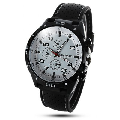 Weijieer 5020 Analog Quartz Watch Rubber Band Round Dial for Men