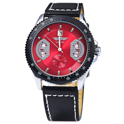 Mechanical Luxury Watch with Calendar Round Dial and Leather Watchband for MenMechanical Watches<br>Mechanical Luxury Watch with Calendar Round Dial and Leather Watchband for Men<br><br>Available Color: Black<br>Band color: Black<br>Band material: Leather<br>Brand: Winner<br>Case color: Black<br>Case material: Metal<br>Clasp type: Pin buckle<br>Display type: Analog<br>Movement type: Mechanical watch<br>Package Contents: 1 x Watch<br>Package size (L x W x H): 10.00 x 4.00 x 1.00 cm / 3.94 x 1.57 x 0.39 inches<br>Package weight: 0.1000 kg<br>Product size (L x W x H): 24.00 x 4.20 x 1.00 cm / 9.45 x 1.65 x 0.39 inches<br>Product weight: 0.0500 kg<br>Shape of the dial: Round<br>Special features: Calendar<br>The dial diameter: 4.2 cm<br>The dial thickness: 1.0 cm<br>Watch style: Casual<br>Watches categories: Male table