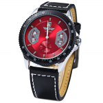 Mechanical Luxury Watch with Calendar Round Dial and Leather Watchband for Men