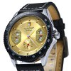 Winner Automatic Mechanical Male Watch Day Round Dial Leather Strap deal