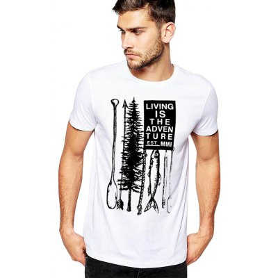 Male Close-fitting Cotton Letter Lure Pattern Short Sleeve T-shirt