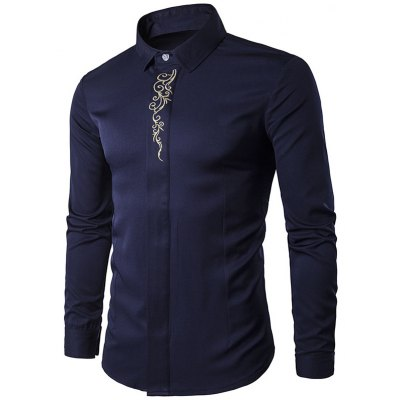 Male Cotton Tops Casual Long Sleeve Shirt with Hid Button