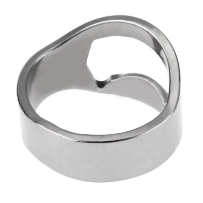1PCS Stainless Steel Beer Bottle Opener Ring for Connoisseurs Party (Silver)