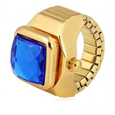 Unique Finger Ring Watch Analog Display with Flip Gem Square Dial Steel Watch Band