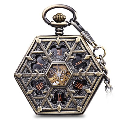 Hollow Out Flip Cover Mechanical Pocket Watch with Clip Hexagon Dial