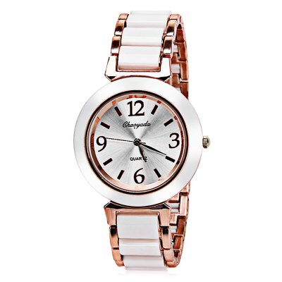 Female Quartz Watch 4 Arabic Numbers and Strips Indicate Plastic and Steel Watch Band - White