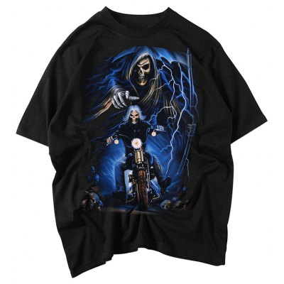 Male Bone Pattern Cotton Short Sleeve Motorcycle T-shirt Tops