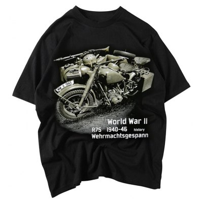 Male World War Letter Pattern Short Sleeve Motorcycle T-shirt