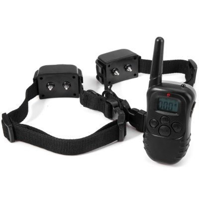 M82 Rechargeable Water Resistant 300m Remote Control LCD Dog Training Collar with 100 Levels for 2 Dogs  -  90  -  264V