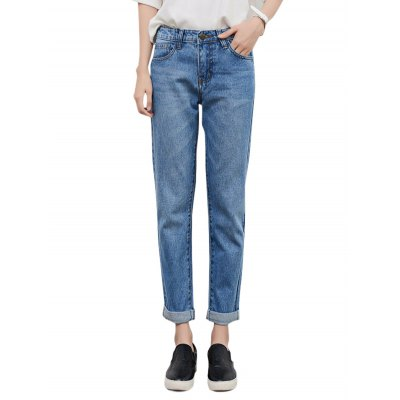 Female Loose Straight Ninth Pants Leisure Baggy Jeans