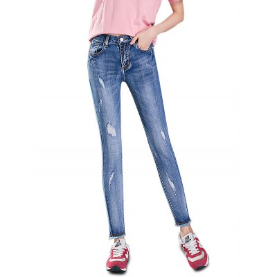 Female Slim Frayed Edge Destroyed Pants Leisure Petite Jeans