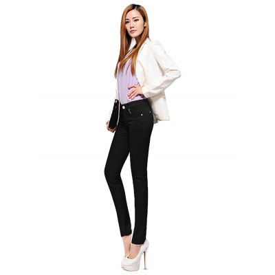 Female Slim Colored Pants Leisure Petite Jeans with Pocket