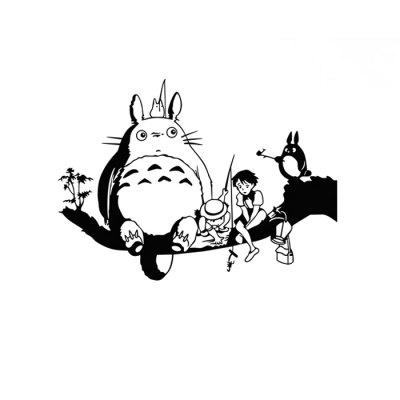 PVC Totoro Style Wall Decals Water Resistant