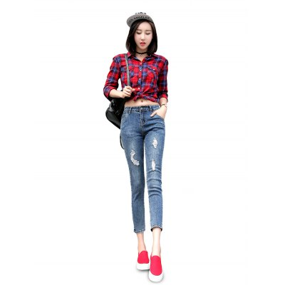 Female Destroyed Ninth Pants Elastic Close-fitting Petite Jeans