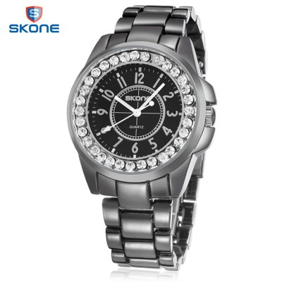 Skone 7218L Lover Quartz Watch with Stainless Steel Band  -  BLACK