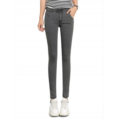 Female Close-fitting Ninth Pants Leisure Gray Denim Jeans