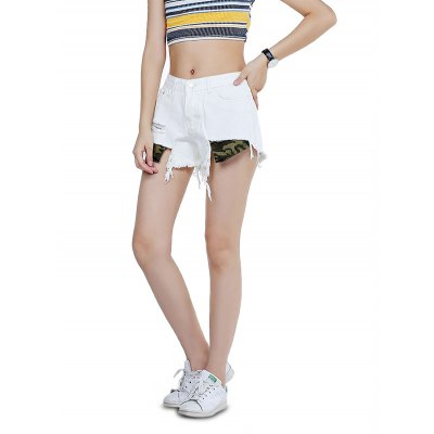 Female Destroyed Tassels Pants Leisure Short Colored Jeans