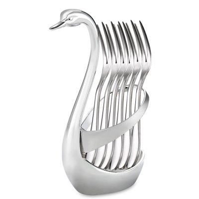 Swan Style Fork Spoon Knife Base HolderFruit &amp; Vegetable Tools<br>Swan Style Fork Spoon Knife Base Holder<br><br>Material: Zinc Alloy<br>Package Contents: 1 x Fork Spoon Holder<br>Package size (L x W x H): 17.00 x 10.00 x 6.30 cm / 6.69 x 3.94 x 2.48 inches<br>Package weight: 0.2400 kg<br>Product size (L x W x H): 15.10 x 6.00 x 5.00 cm / 5.94 x 2.36 x 1.97 inches<br>Product weight: 0.1860 kg<br>Type: Other Kitchen Accessories
