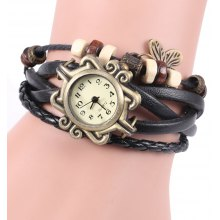 Vintage Style Watch with Butterfly Pendant and Knitting Leather Watch Band