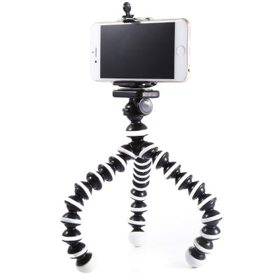 2 in 1 Adjustable Mobile Phone Octopus Style Tripod with ClipStands &amp; Holders<br>2 in 1 Adjustable Mobile Phone Octopus Style Tripod with Clip<br><br>Color: White<br>Features: Tripod, Flexible, Adjustable Stand<br>Mainly Compatible with: Universal<br>Material: Plastic<br>Package Contents: 1 x 10 inch Tripod, 1 x Cell Phone Clip<br>Package size (L x W x H): 34.00 x 6.00 x 6.00 cm / 13.39 x 2.36 x 2.36 inches<br>Package weight: 0.2320 kg<br>Product size (L x W x H): 33.50 x 5.00 x 5.00 cm / 13.19 x 1.97 x 1.97 inches<br>Product weight: 0.1720 kg<br>Type: Mobile Holder, Clip Stand