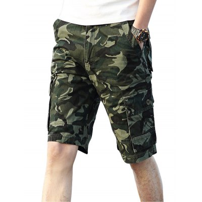 Male Cotton Fifth Cargo Pants Camouflage Pattern Green Jeans