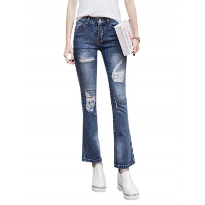 Ripped Stretch Bootcut Jeans